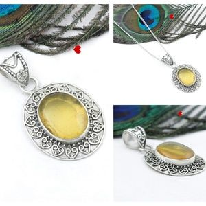 Natural Amber Pendant 925 Silver Genuine Fashion